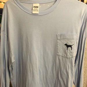 VS PINK Dog Logo Long Sleeve Tshirt Light Blue